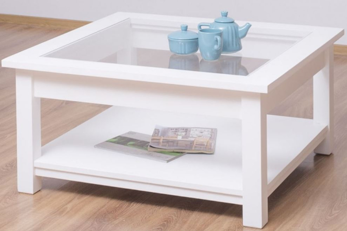 casa padrino country style coffee table with glass top white 90 x 90 x h 45 cm solid wood living room table living room furniture in country