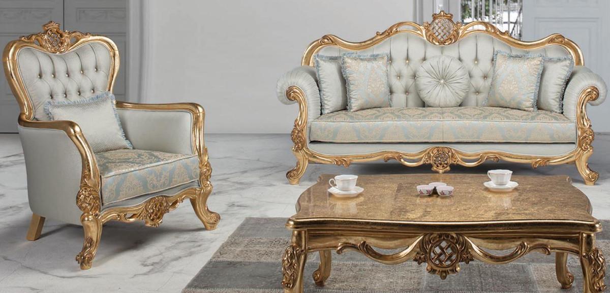 casa padrino ensemble de salon baroque de luxe bleu clair turquoise or 2 canapes et 2 fauteuils et 1 table basse meubles de salon de style