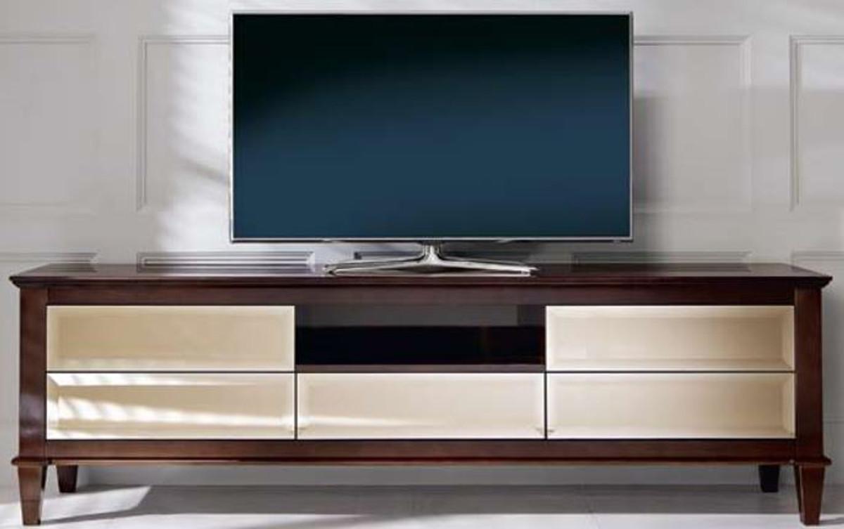 casa padrino cabinet de tv neoclassique de luxe marron 200 x 45 x h 61 cm meuble tv avec 5 tiroirs miroir meubles de salon de luxe