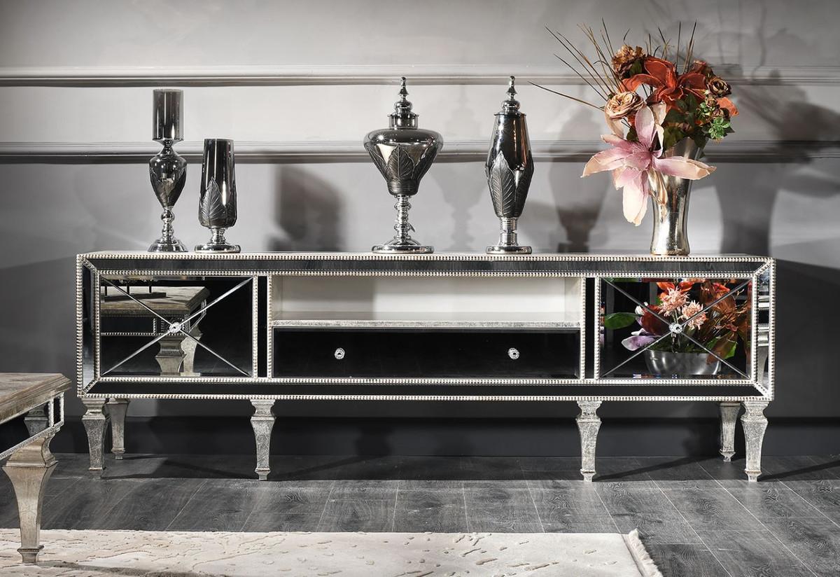 casa padrino cabinet de tv baroque de luxe avec verre miroir argent or 200 x 55 x h 72 cm meuble tv qualite de luxe