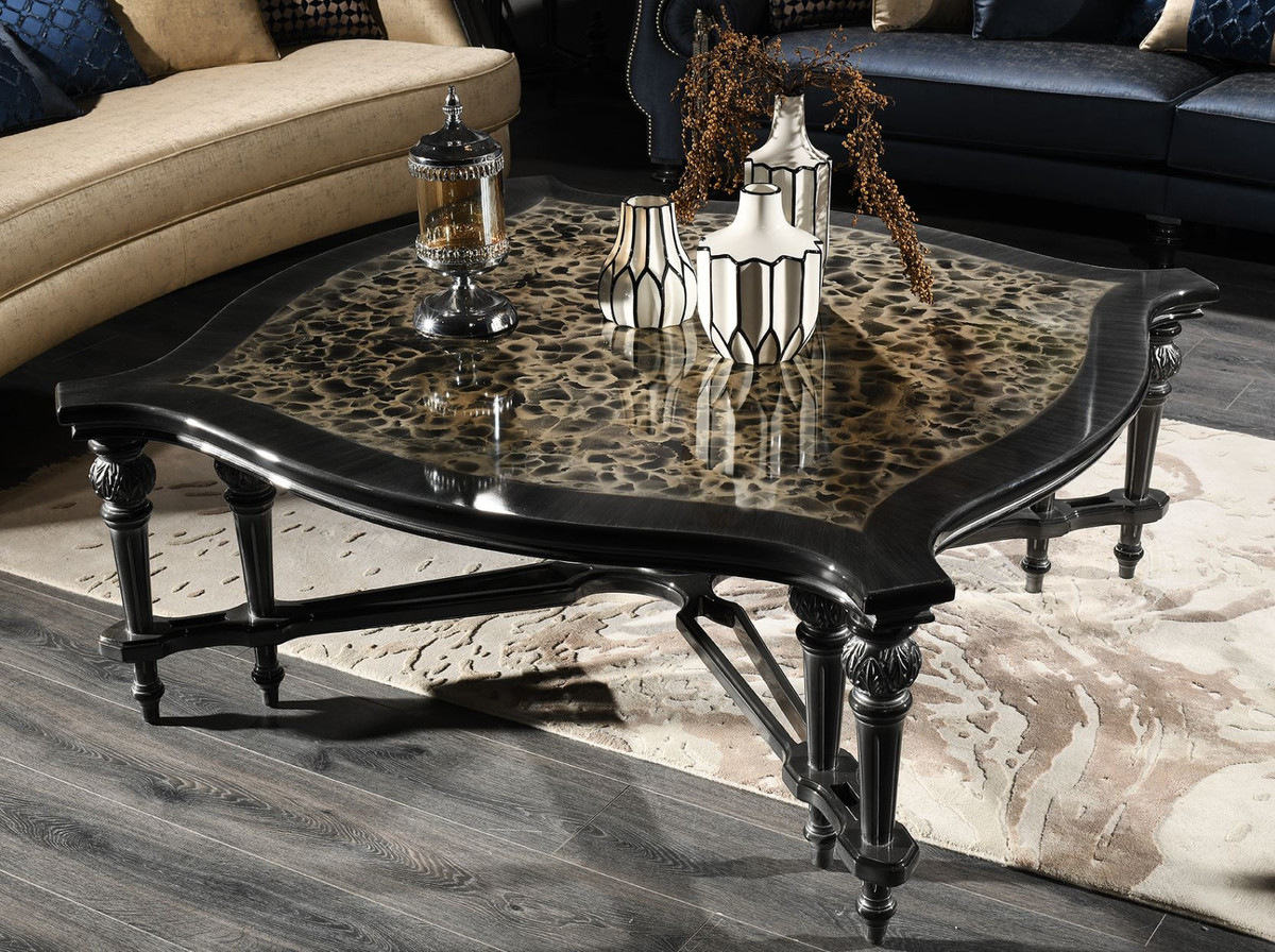 casa padrino luxury baroque coffee table black beige silver 126 x 126 x h 50 cm living room furniture in baroque style