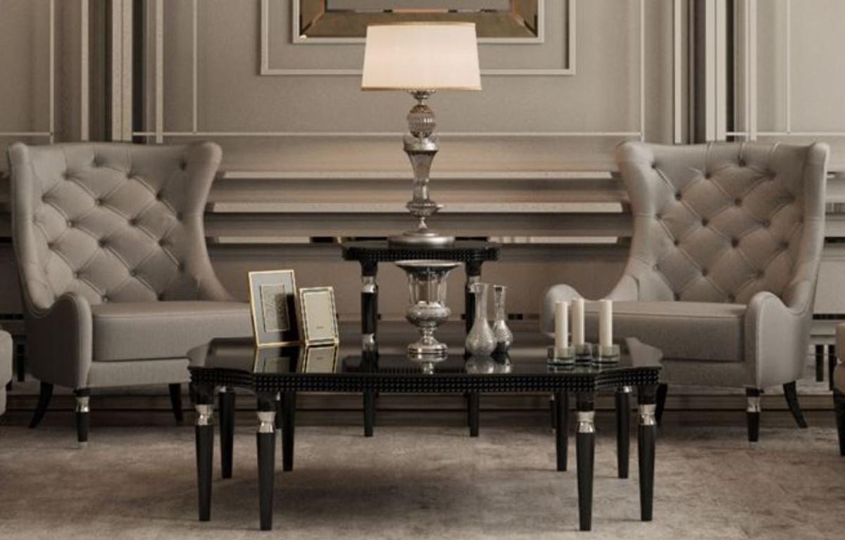 casa padrino table basse art deco de luxe noir argent 130 x 130 x h 45 cm table de salon art deco meubles de salon art deco qualite de luxe