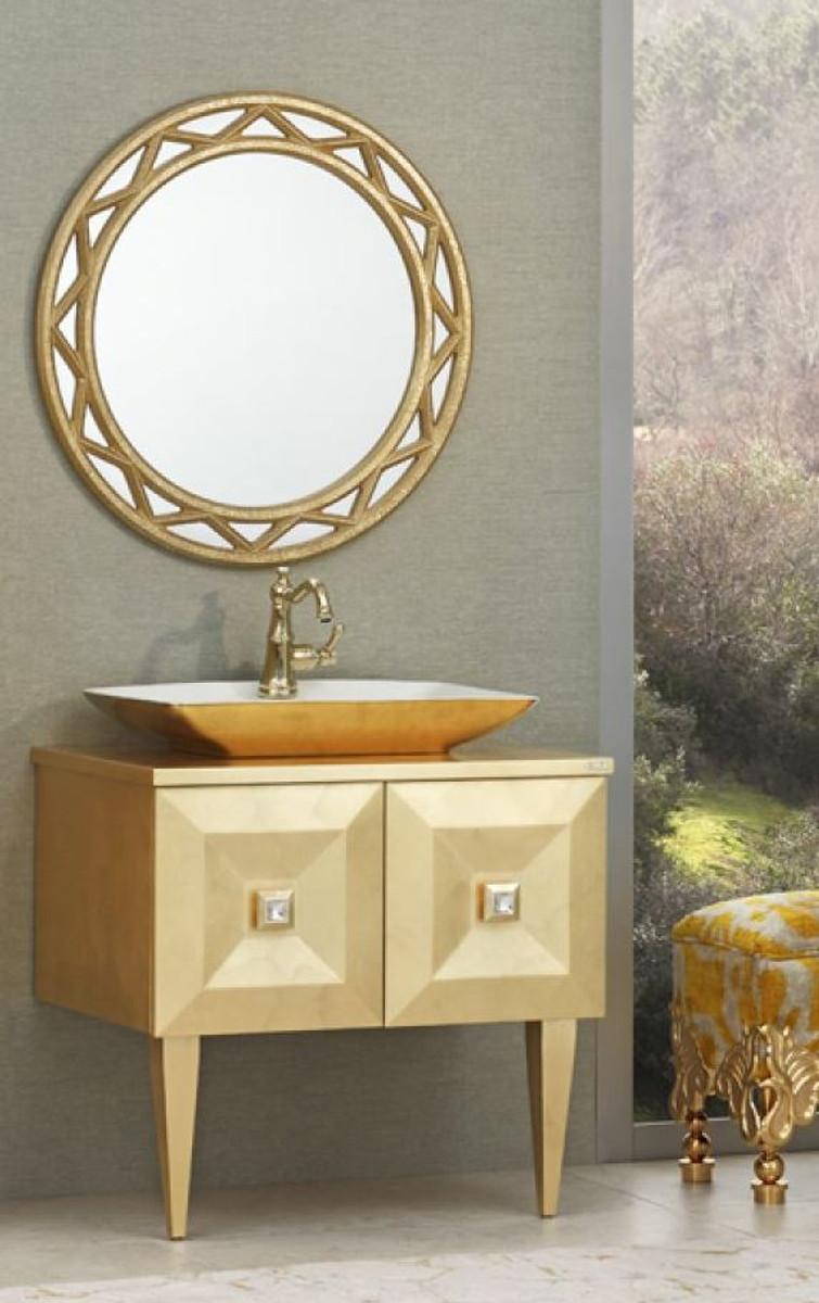 Casa Padrino Luxus Barock Badezimmer Set Gold Waschtisch Mit Waschbecken Und Wandspiegel Edel Prunkvoll Luxus Qualitat Freistehende Badewannen Badezimmer Mobel Badezimmer Mobel