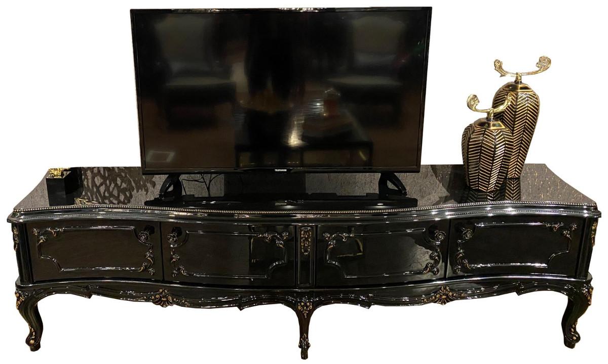 casa padrino armoire tv baroque de luxe noir or antique 222 x 50 x h 62 cm meuble tv noble avec 4 portes et plateau en verre mobilier de salon