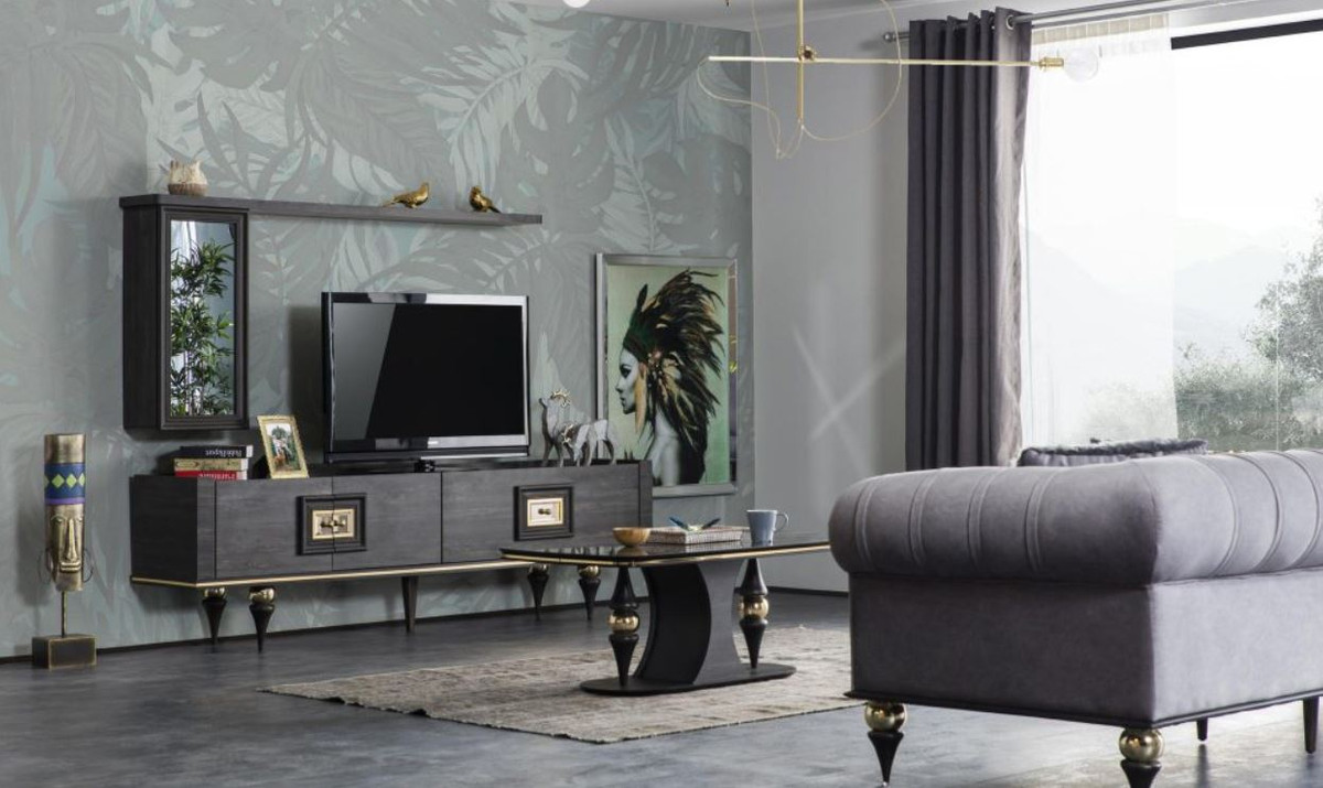casa padrino luxury art deco tv cabinet gray black brass 226 x 44 x h 65 cm noble living room tv cabinet with drawer and 2 doors art deco