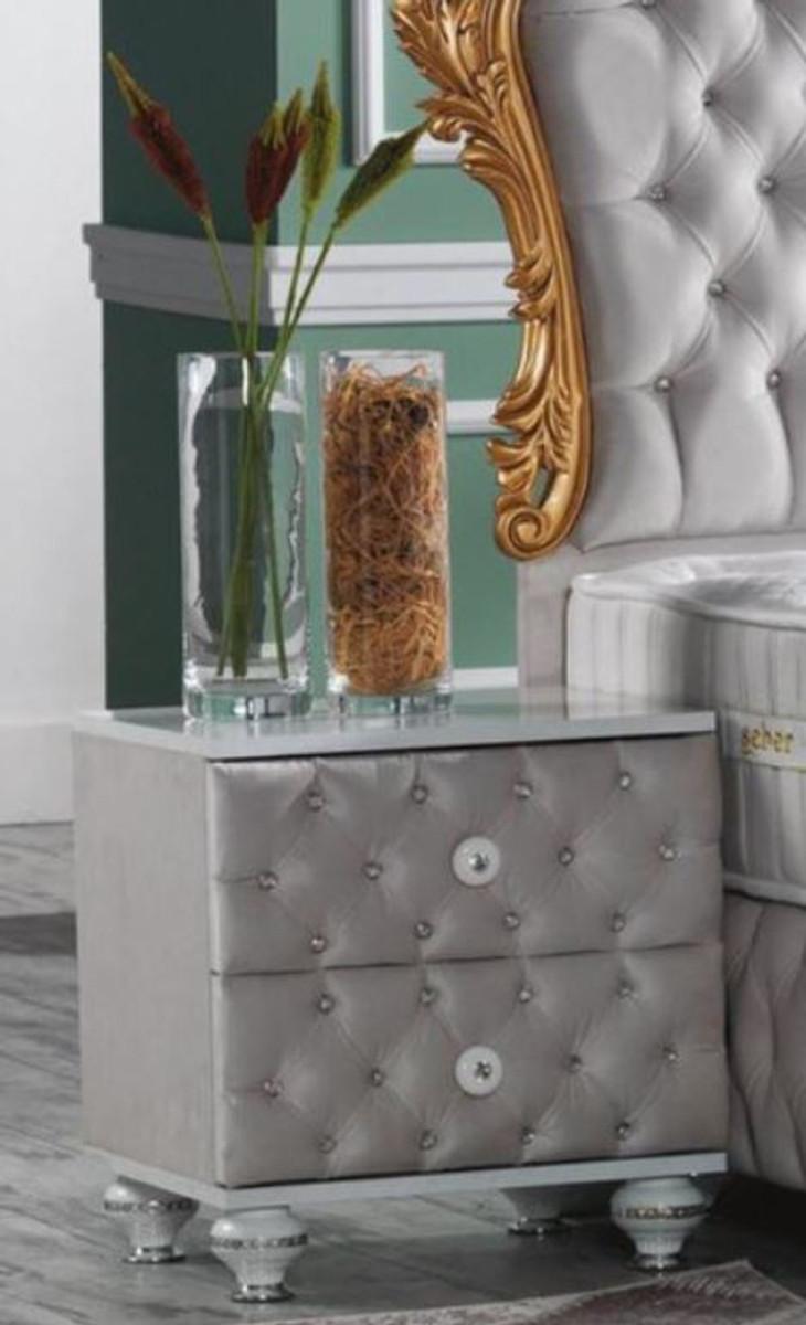 casa padrino table de chevet baroque avec strass et 2 tiroirs gris blanc argent 50 x 50 x h 50 cm table d appoint de style baroque mobilier