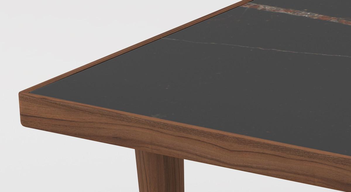 casa padrino table basse de luxe marron noir 130 x 70 x h 45 cm table de salon rectangulaire moderne en bois massif avec plateau en marbre