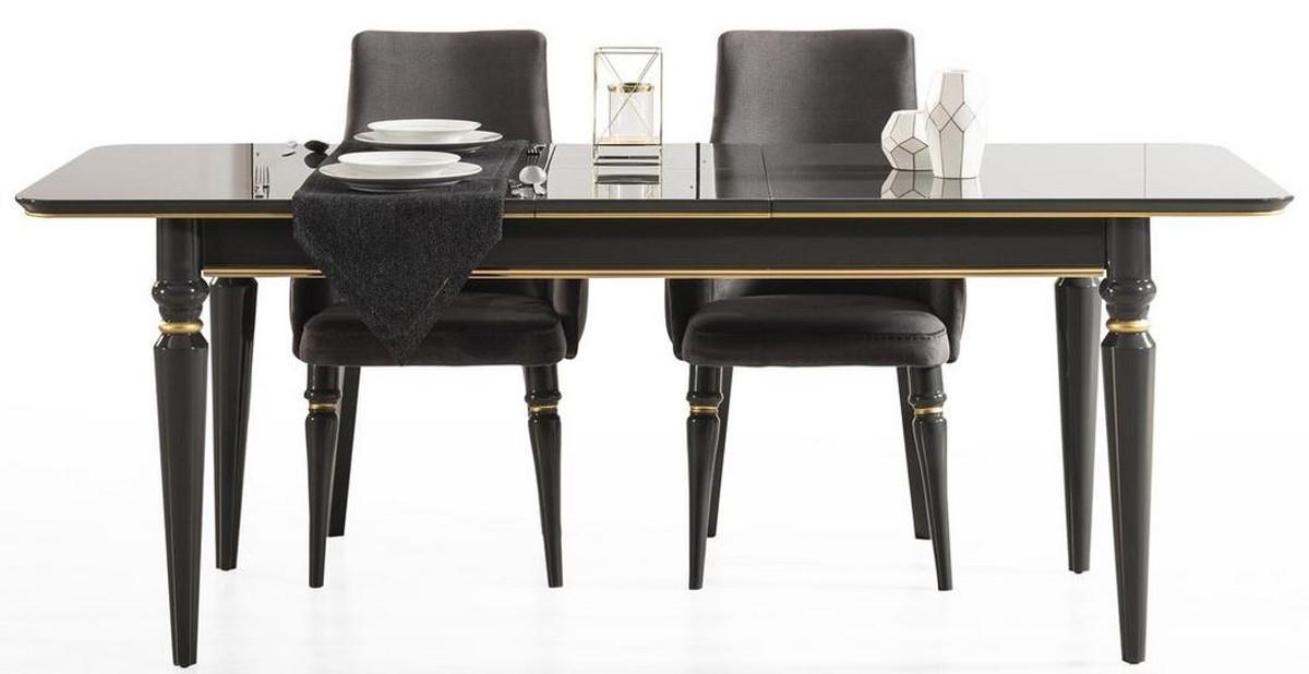 casa padrino table de salle a manger art deco de luxe noir or 170 208 x 90 x h 76 cm table de salle a manger extensible noble meubles de salle