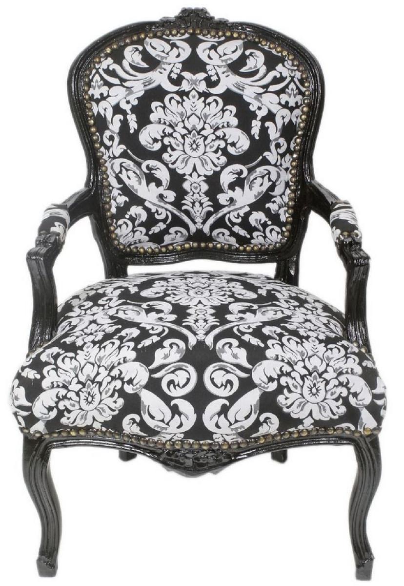 casa padrino chaise de salon baroque avec accoudoirs et motif elegant noir blanc 60 x 60 x h 95 cm chaise de style antique fait main mobilier