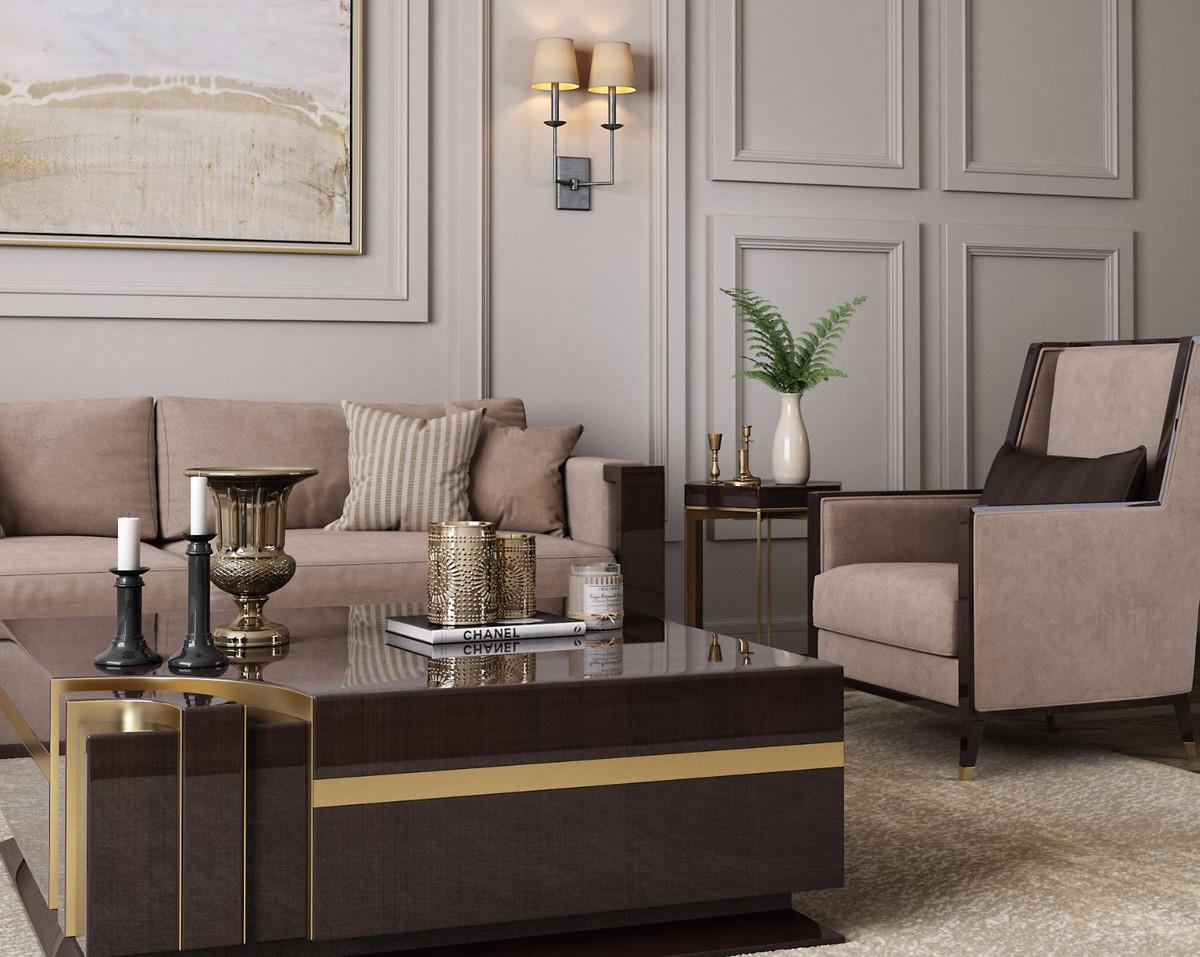 casa padrino fauteuil art deco de luxe en velours beige marron fonce brillant or 75 x 75 x h 105 cm fauteuil de salon noble mobilier art deco