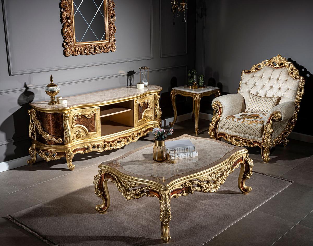 casa padrino armoire tv baroque de luxe creme beige marron or 185 x 50 x h 72 cm meuble tv noble avec 2 portes mobilier de salon baroque