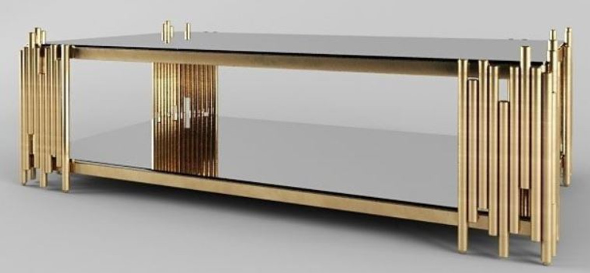 casa padrino designer coffee table gold 100 x 60 x h 45 cm rectangular living room table with glass plates luxury living room furniture