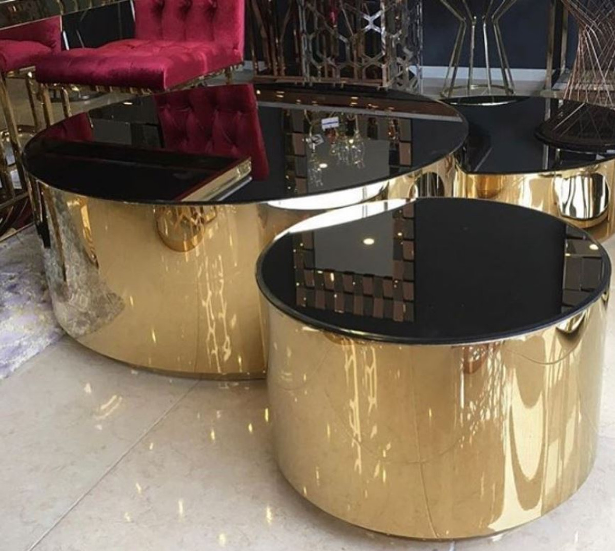 casa padrino luxury coffee table set gold black 3 living room tables with glass top luxury living room furniture