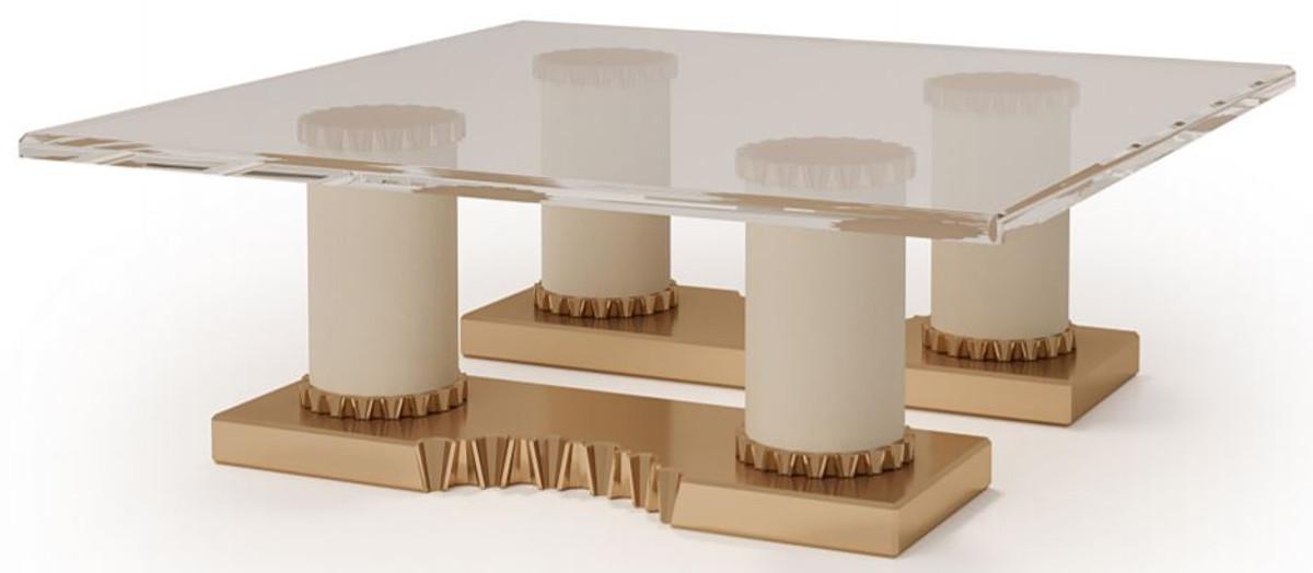 casa padrino luxury designer coffee table cream bronze 130 x 130 x h 45 cm handmade living room table with glass top luxury hotel furniture