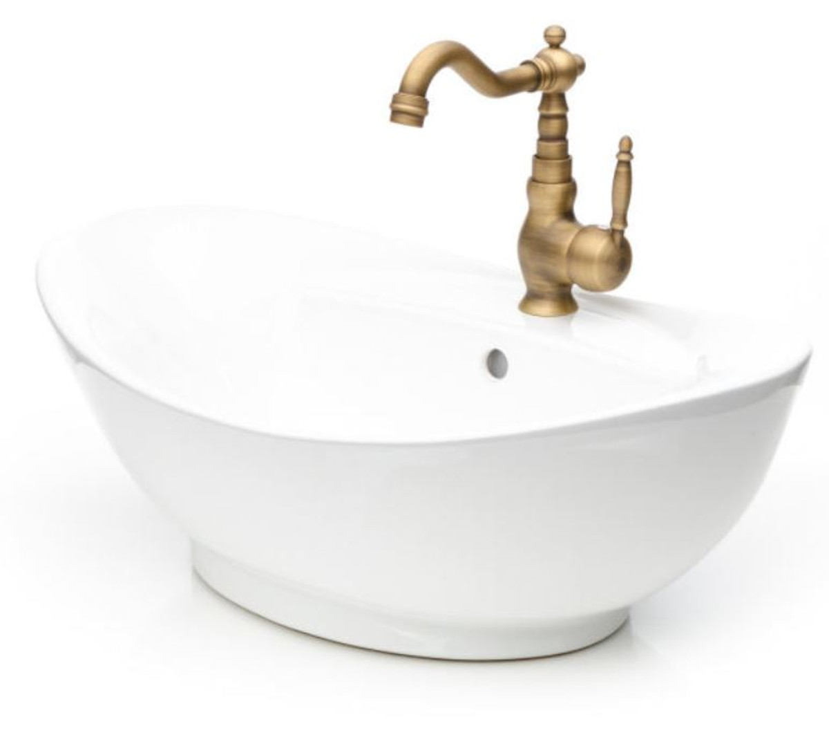 casa padrino art nouveau washbasin set white antique bronze 58 5 x 38 5 x h 43 5 cm retro single lever faucet with elegant washbasin rustic