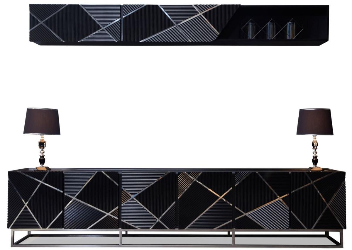 casa padrino ensemble de armoire tv de salon de luxe noir argent 1 armoire tv 1 etagere murale ensemble de meubles de salon noble qualite de