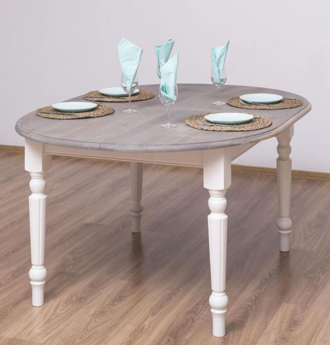 casa padrino table a manger de style campagnard gris blanc 160 x 120 x h 78 cm table de cuisine ovale en bois massif avec plateau en chene