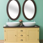 Casa Padrino Country Style Bathroom Set Yellow Dark Brown 1 Double Washstand 2 Wall Mirrors Solid Wood Bathroom Furniture In Country Style