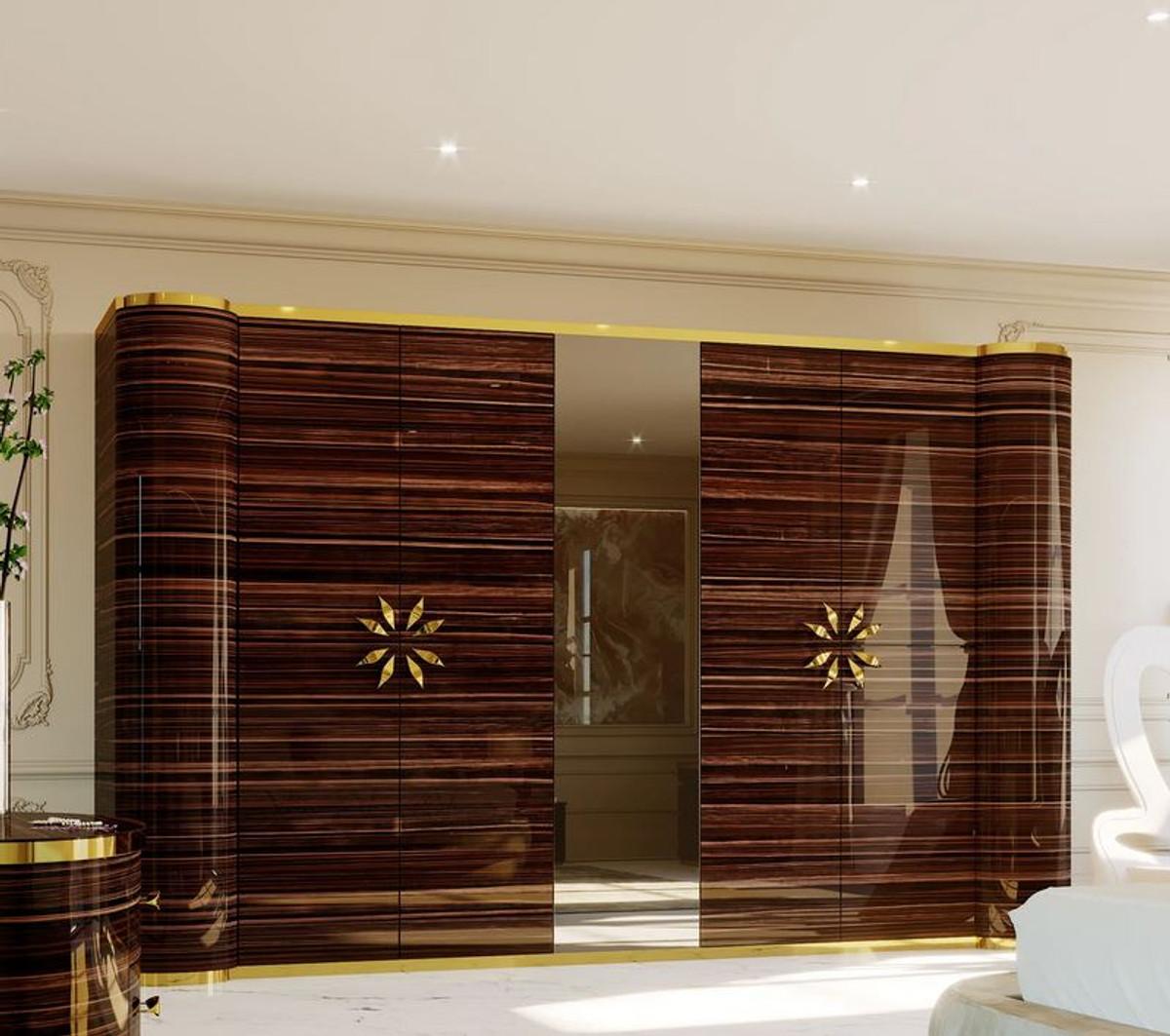 casa padrino armoire de chambre design de luxe marron brillant or 285 x 62 x h 250 cm armoire en bois massif noble avec 4 portes mobilier