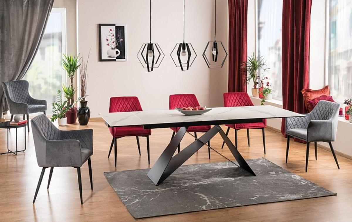 casa padrino table a manger design blanc noir mat 160 240 x 90 x h 76 cm table de salle a manger extensible avec plateau aspect marbre mobilier