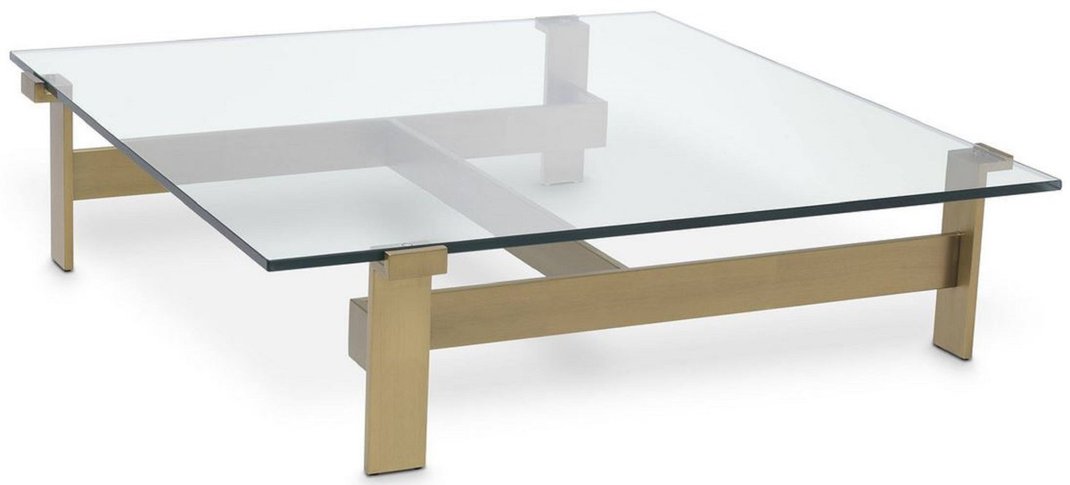 casa padrino luxury coffee table brass 120 x 120 x h 30 cm square stainless steel living room table with glass top living room furniture luxury