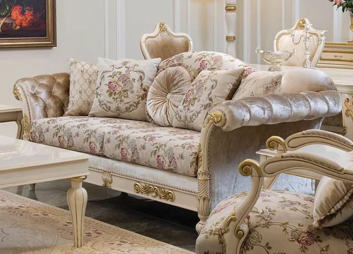 casa padrino canape de salon baroque de luxe creme rose blanc or 228 x 90 x h 100 cm canape de salon noble avec motif fleuri et coussins