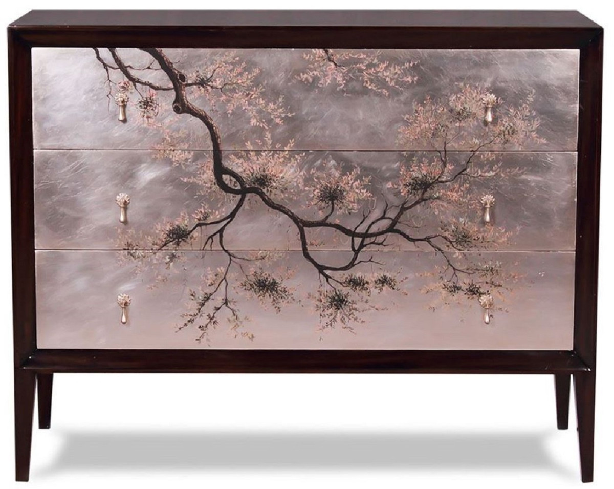 casa padrino commode art deco de luxe marron fonce multicolore 120 x 49 x h 94 cm commode en acajou noble avec 3 tiroirs et design japonais