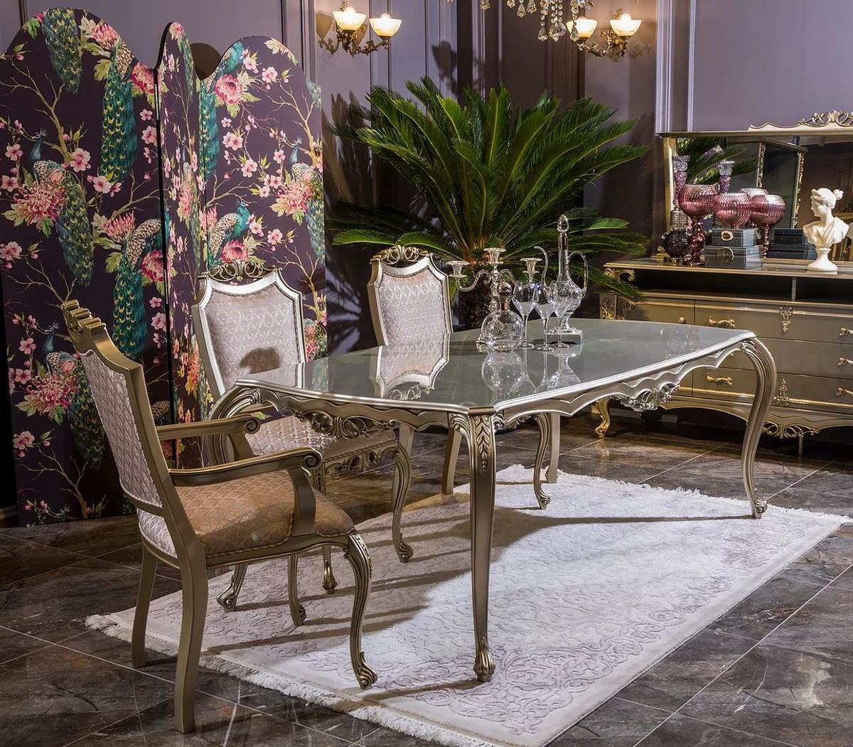 casa padrino ensemble de salle a manger baroque de luxe rose argent 1 table a manger et 6 chaises de salle a manger meubles de salle a manger de
