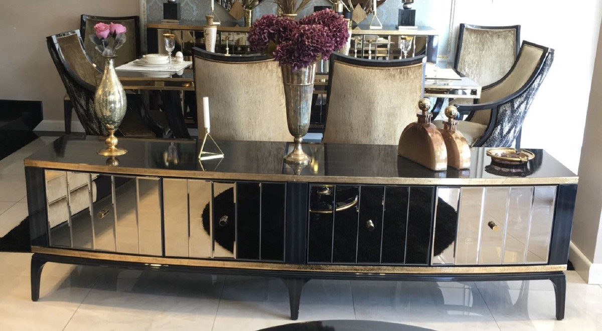 casa padrino armoire tv baroque de luxe noir or 230 x 55 x h 65 cm meuble tv en bois massif avec miroir mobilier de salon baroque