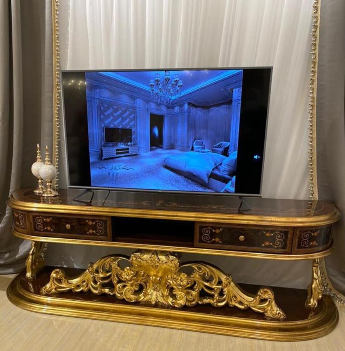 casa padrino armoire tv baroque de luxe marron or antique 220 x 50 x h 70 cm magnifique meuble tv en bois massif mobilier de salon baroque