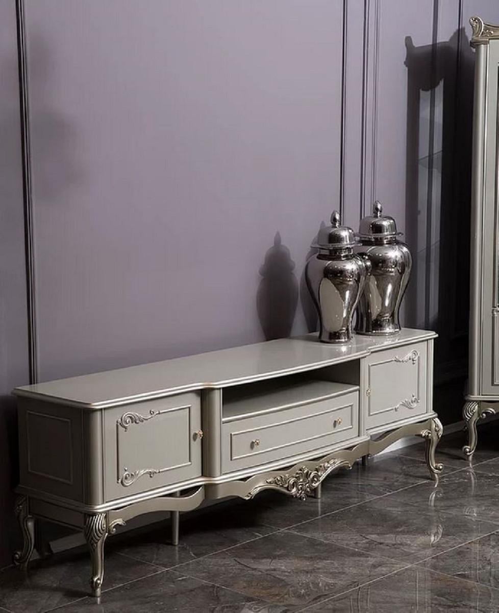 casa padrino armoire tv baroque de luxe gris argent 191 x 44 x h 63 cm magnifique meuble tv en bois massif mobilier de salon baroque