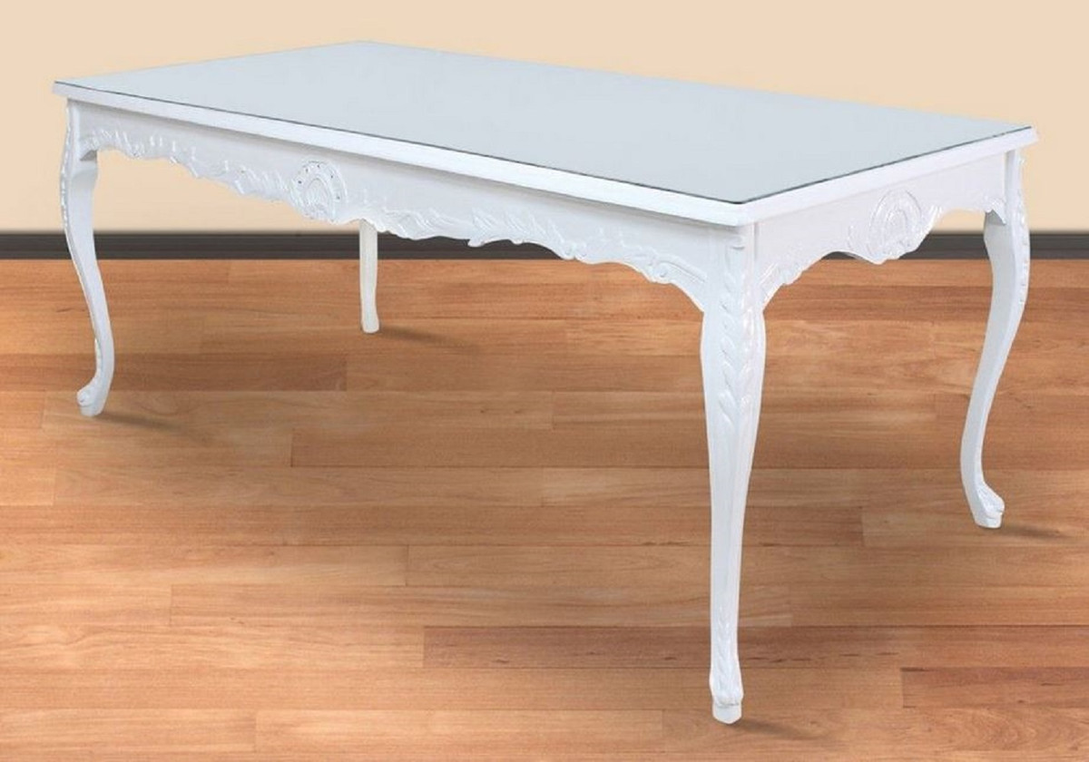 casa padrino baroque dining table white 200 x 100 x h 90 cm solid wood kitchen table with glass top baroque dining room furniture