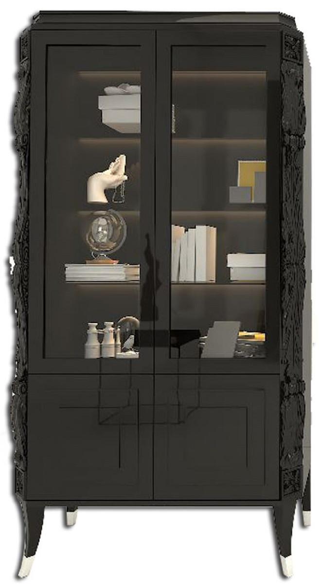 casa padrino vitrine art deco de luxe noir argent vitrine en bois massif fabrique a la main meubles de salon art deco