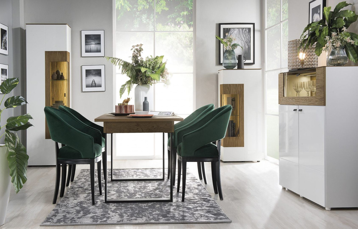 casa padrino vitrine d angle blanc marron 65 4 x 40 x h 202 cm vitrine moderne en bois massif eclairee armoire de salon meubles de salon