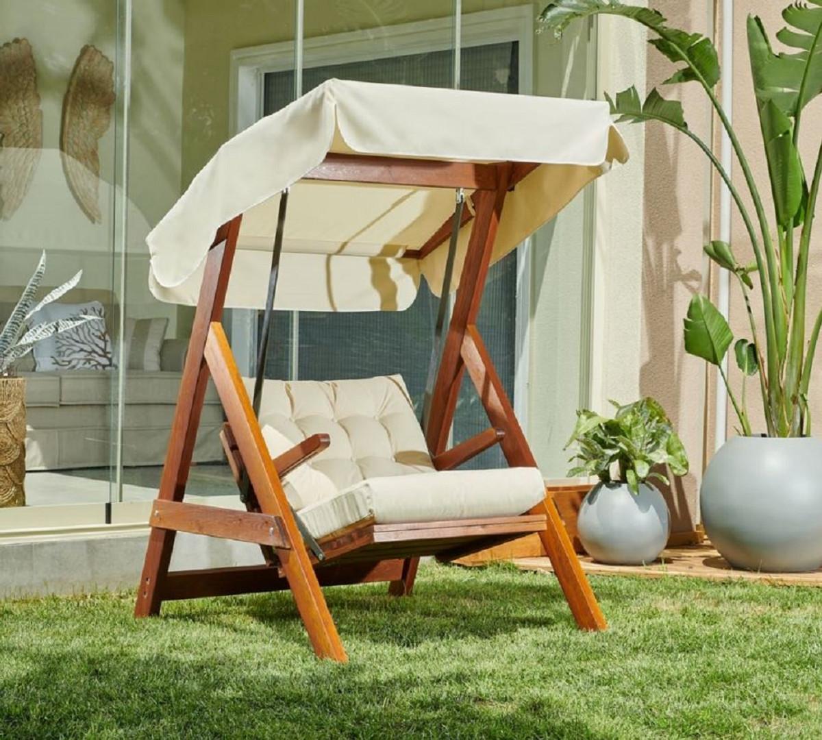 casa padrino luxury hollywood swing cream brown modern weatherproof garden swing with sun roof patio furniture garden furniture luxury