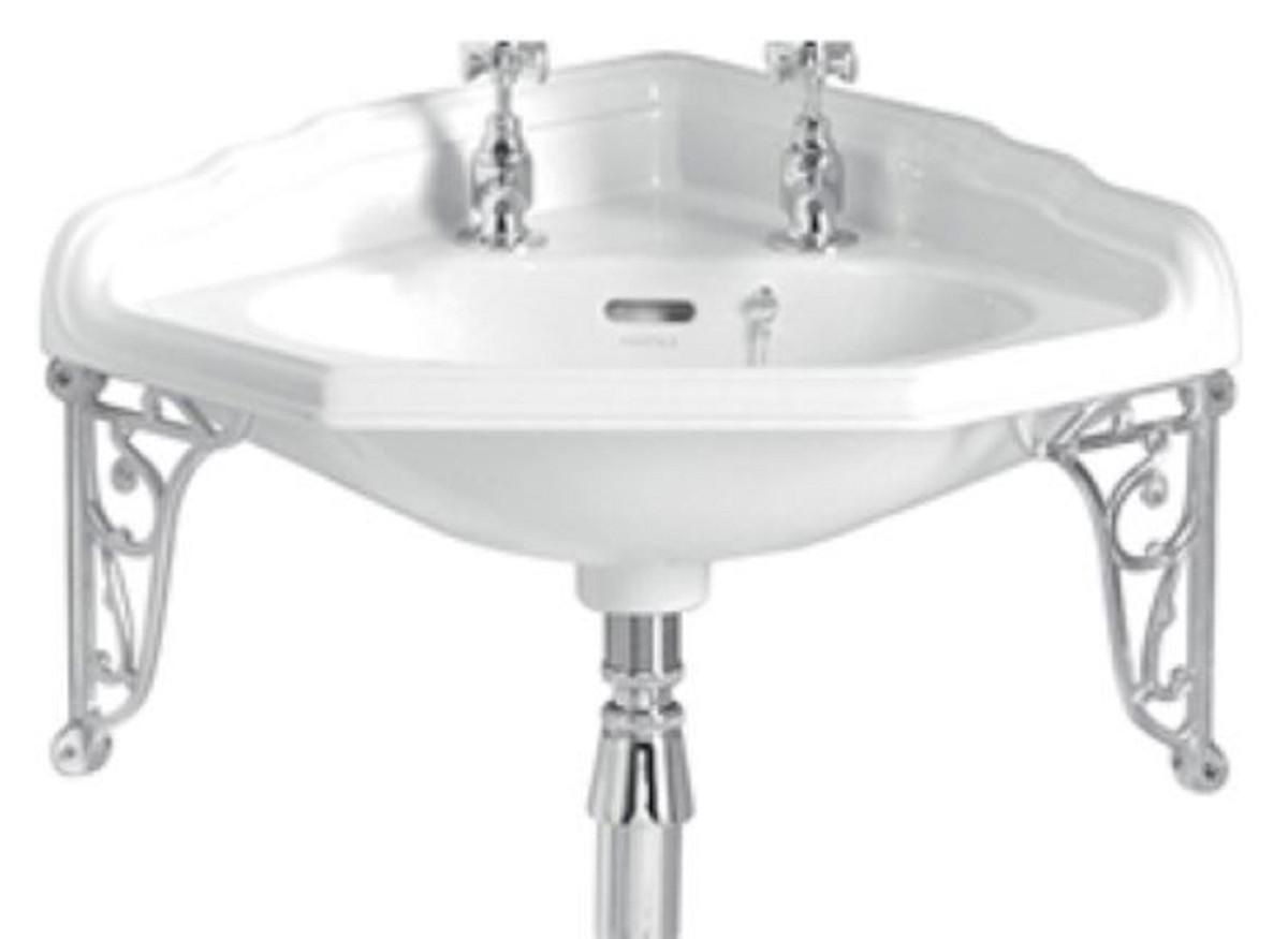 casa padrino lavabo d angle art nouveau de luxe blanc argent 63 5 x 49 5 x h 23 cm lavabo 2 trous en porcelaine avec support mural meubles de