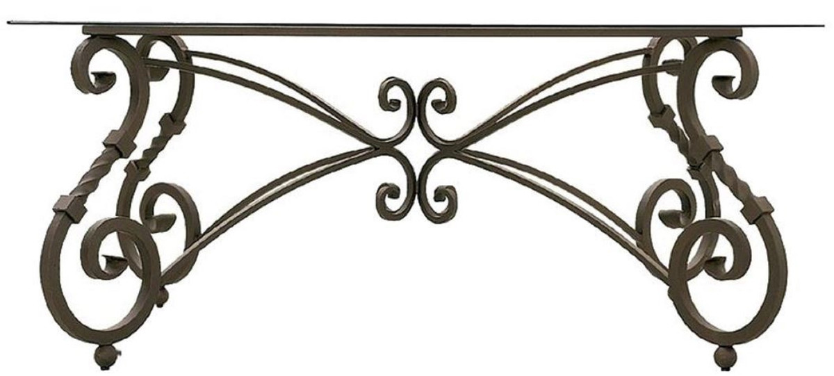 casa padrino luxury baroque dining table base brown hand forged wrought iron frame dining room garden patio furniture