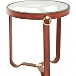 Casa Padrino Luxury Designer Coffee Table With Glass Top Round Real Leather With Brass Mounts