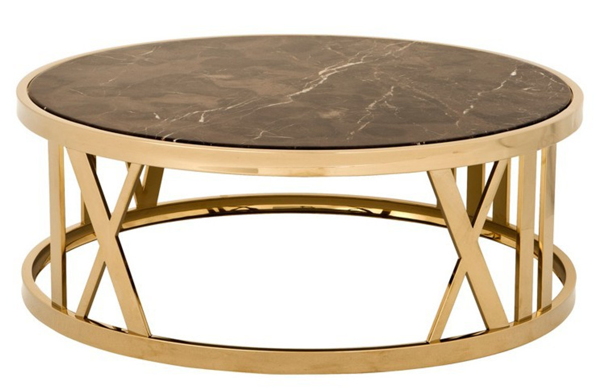 casa padrino luxury art deco coffee table round gold with marble top luxury collection
