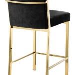 Casa Padrino Luxus Barstuhl Schwarz Gold 43 X 54 X H 91 Cm Designer Edelstahl Barhocker Mit Samtstoff Barmobel Barockgrosshandel De