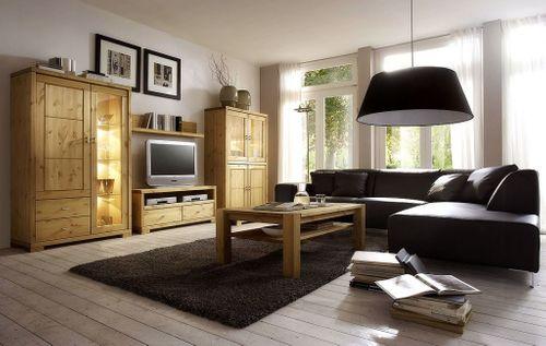 wohnzimmermobel komplett vollholz wohnwand kiefer massiv gelaugt geolt bild 1