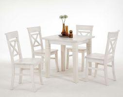 Massivholz Küchentisch 78x78cm weiß lasiert Kiefer Esstisch Tisch   Massivholzmoebel Experte