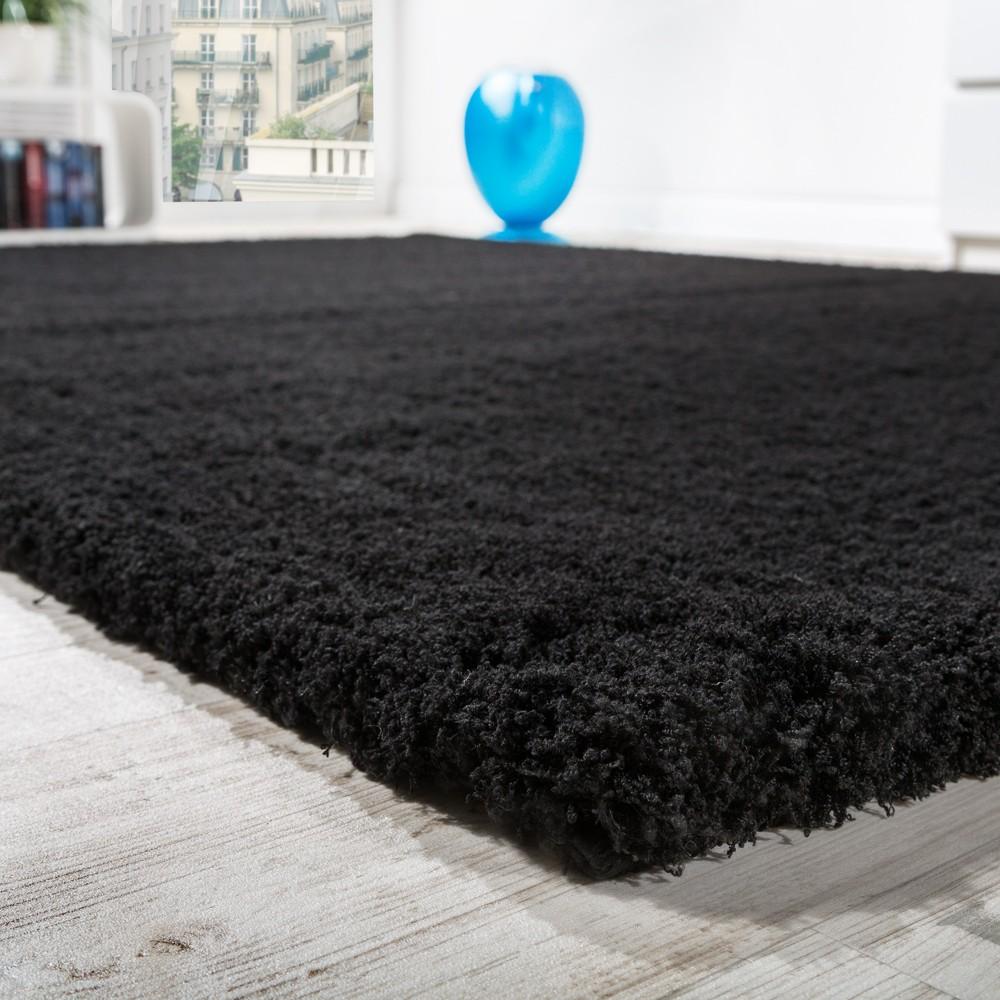 details sur tapis salon micro polyester shaggy elegant resistant a haut poil long en noir