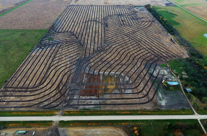 gridline field tile installation in