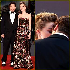 Johnny Depp & Amber Heard Share Sweet Kiss at 'Danish Girl' Venice Premiere!