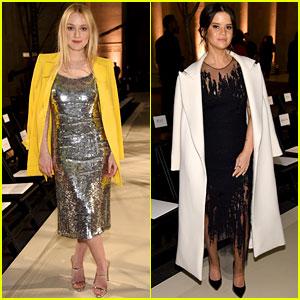 Dakota Fanning Dazzles at Oscar De La Renta Fashion Show With Maren Morris