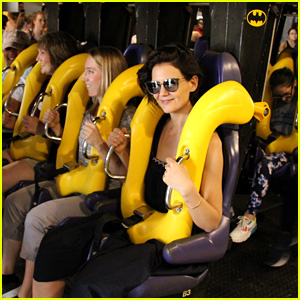 Katie Holmes Rides Roller Coasters at Six Flags!