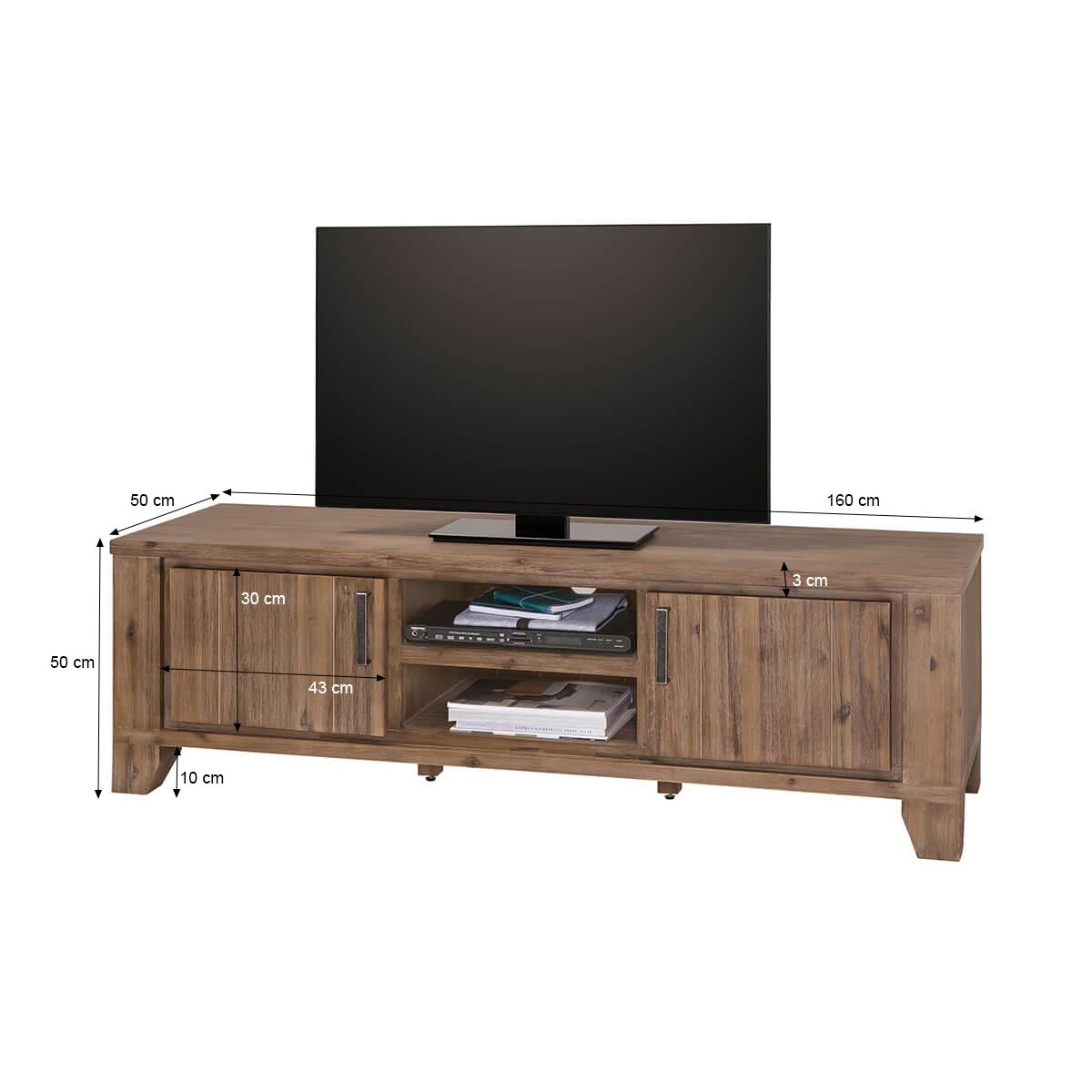 tv lowboard avora 160 cm breit in braun akazie massiv