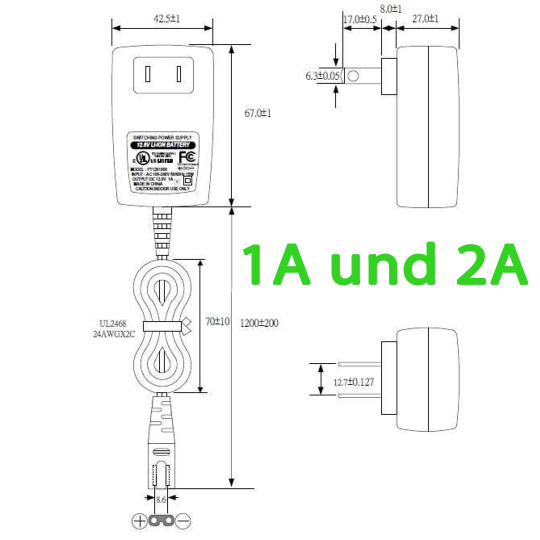Fuyuang 10 8v 11 1v 12 6v Li Ion Ladegerat 3s Dc Plug