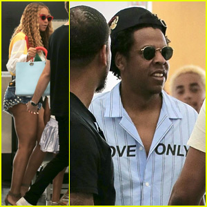 Beyonce & Jay-Z Arrive in Barcelona for 'On the Run II' Tour Stop